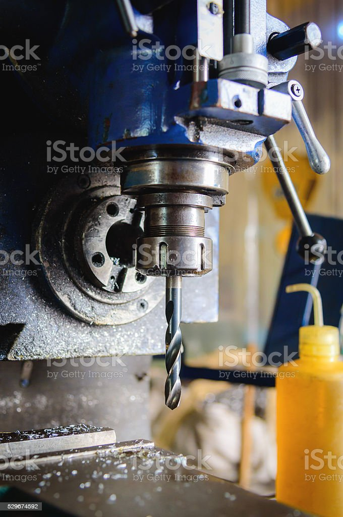 Detail of vertical drilling machine stock photo