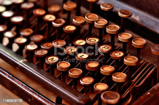 Detail of very old antique typewriter keyboard. Low depth of field.