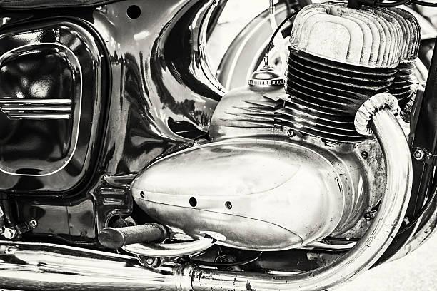 Detail of veteran motorbike, meeting bikers, black and white 스톡 사진