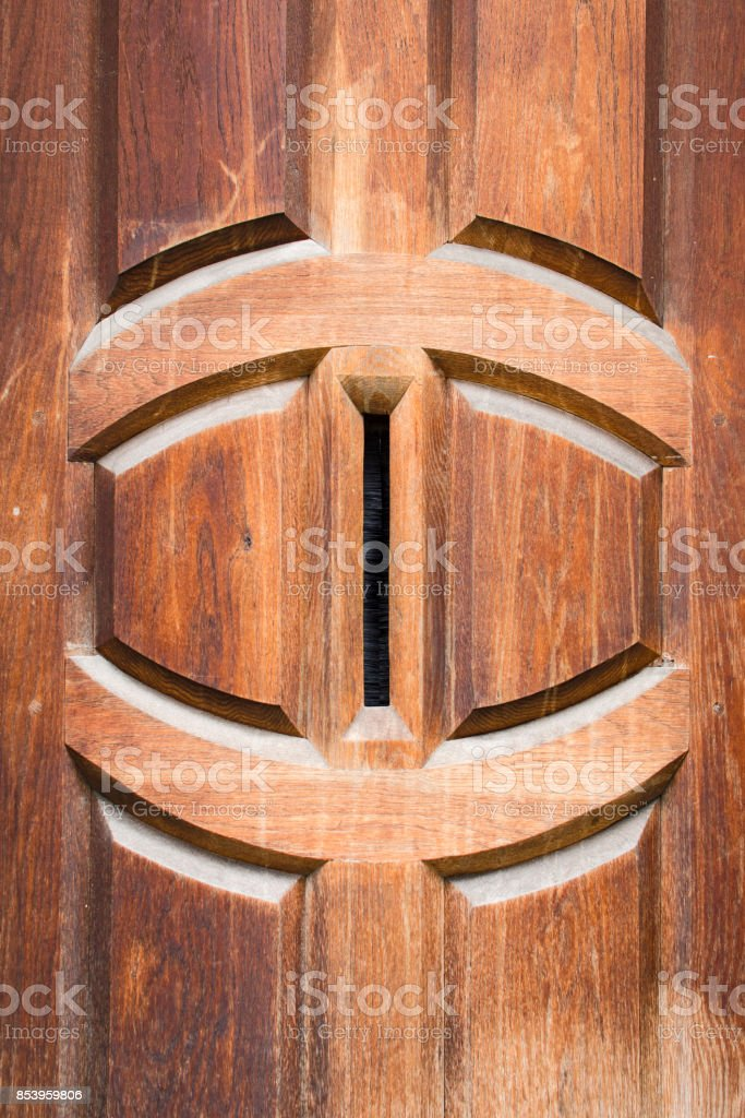 Detail of vintage solid wooden front door with vertical postbox letter hole royalty-free stock & Detail Of Vintage Solid Wooden Front Door With Vertical Postbox ... pezcame.com