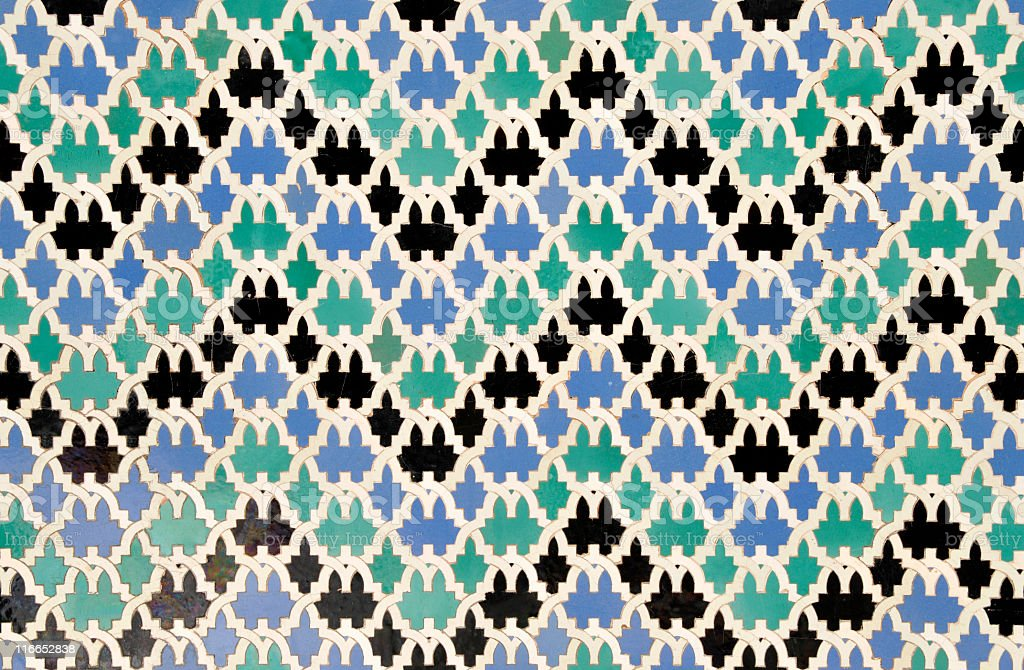 Detail of wall mosaics in  Reales Alcazares of Sevilla,Spain. royalty-free stock photo