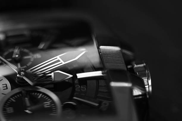 detail of watch monochrome of wristwatch luxury watch stock pictures, royalty-free photos & images