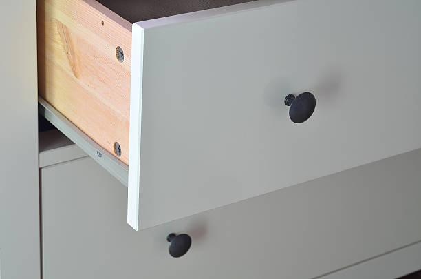detail aus weiß laminiertem schublade mit messing-griff oben - laminatschränke stock-fotos und bilder