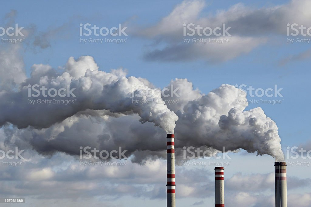 detail of white smoke polluted sky stock photo