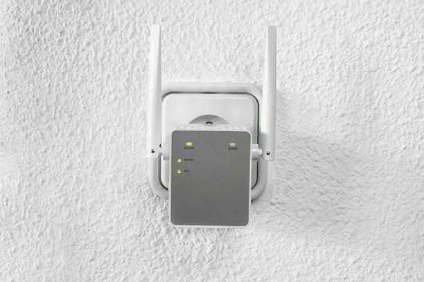 Detail of Wifi range extender stock photo