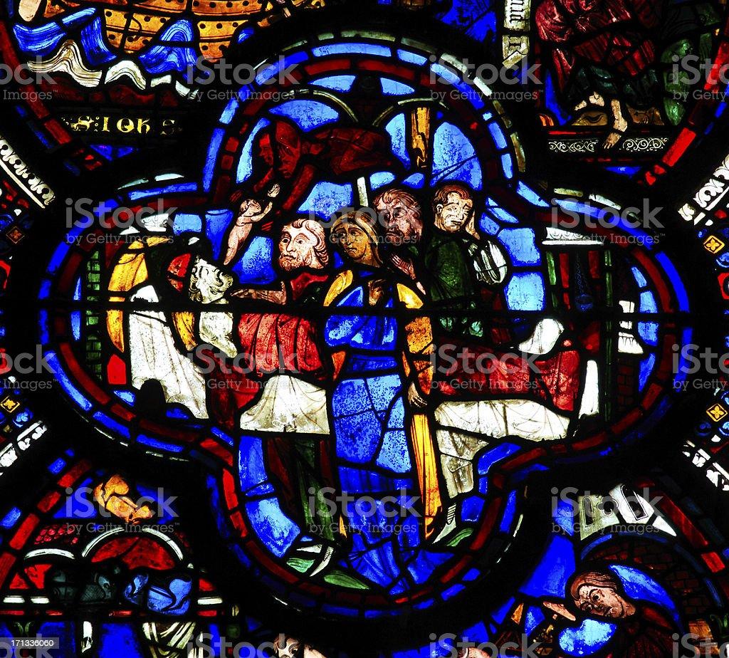Detail of window Saint-John the Divine, Cathedral Notre-Dame de Chartres stock photo
