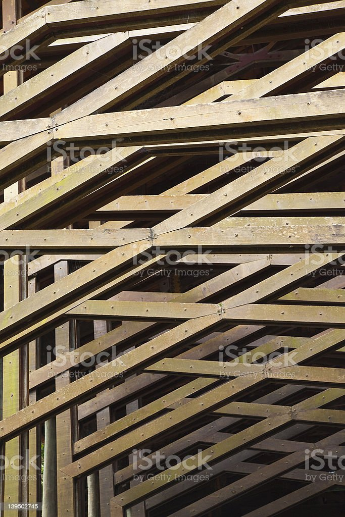 Detail of Wooden Architectural Structural Beams stock photo