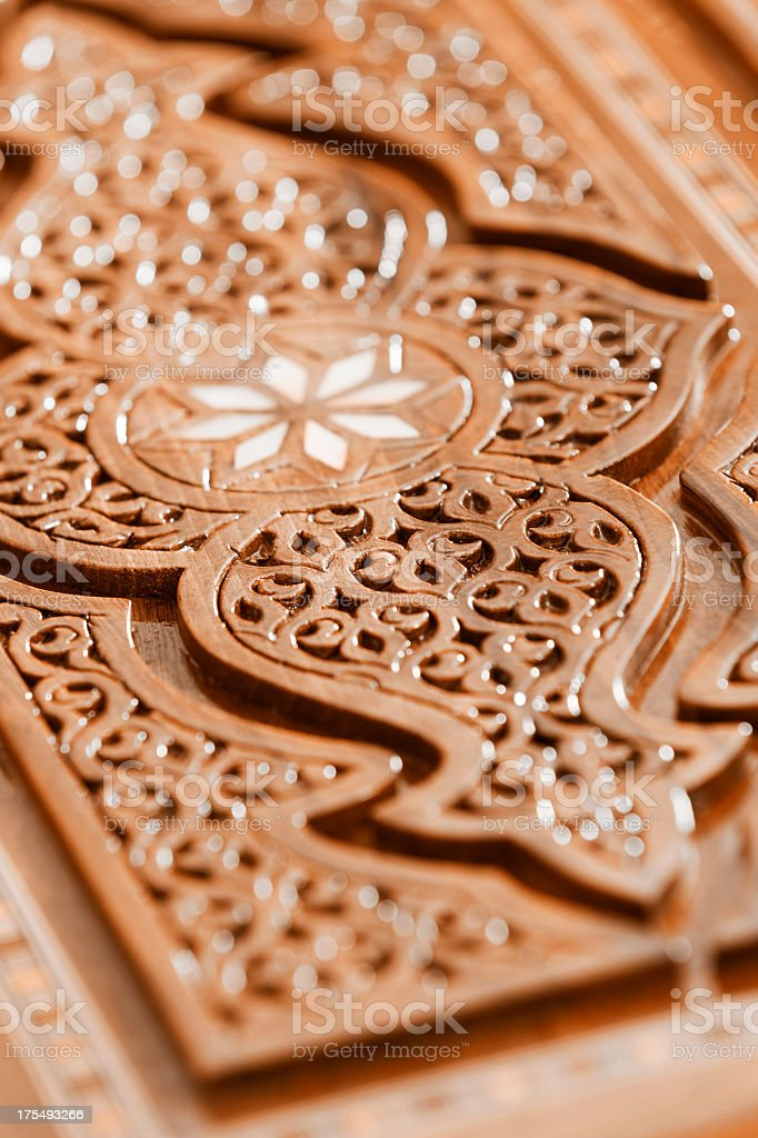 detail of wooden carving box cover royalty-free stock photo
