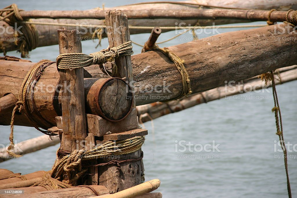 Detail of wooden fishing platform royalty-free stock photo