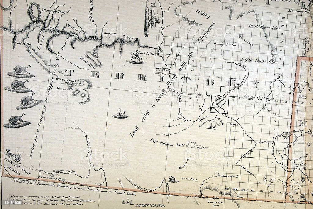 Detail on an 1876 Map stock photo