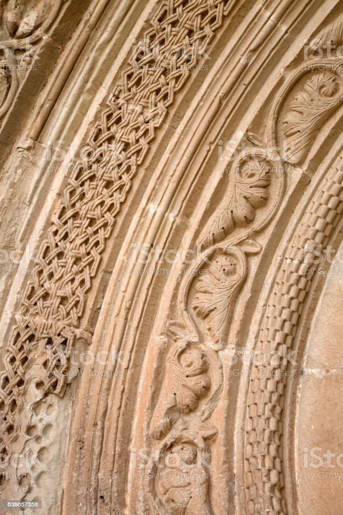 Detail on Entrance to Cathedral Church in Siguenza stock photo