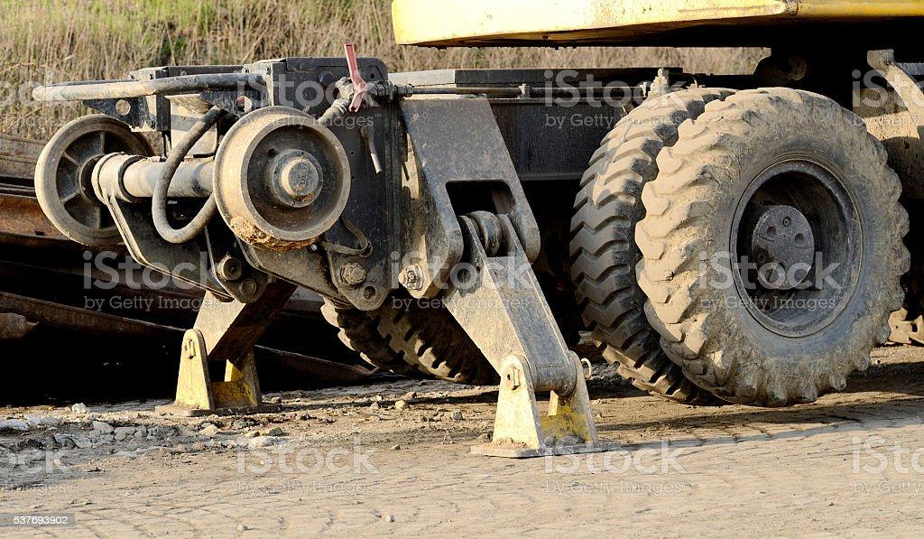 Detail on heavy construction machine stock photo