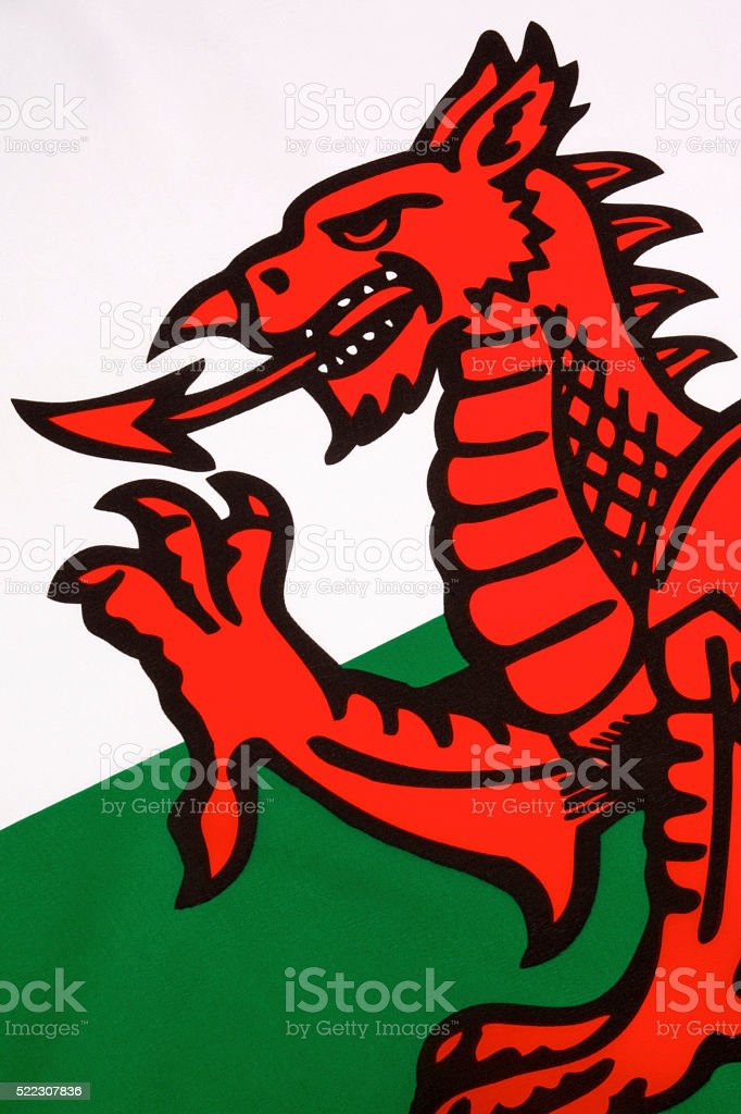 Detail on the flag of Wales - United Kingdom stock photo