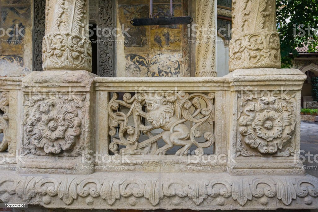 Detail on the outside of Stavropoleos Church, Bucharest stock photo