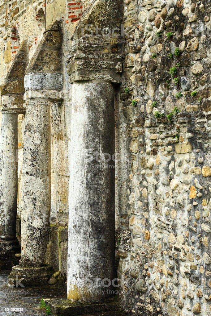 detail on wall of Densus church, Hunedoara, Romania stock photo