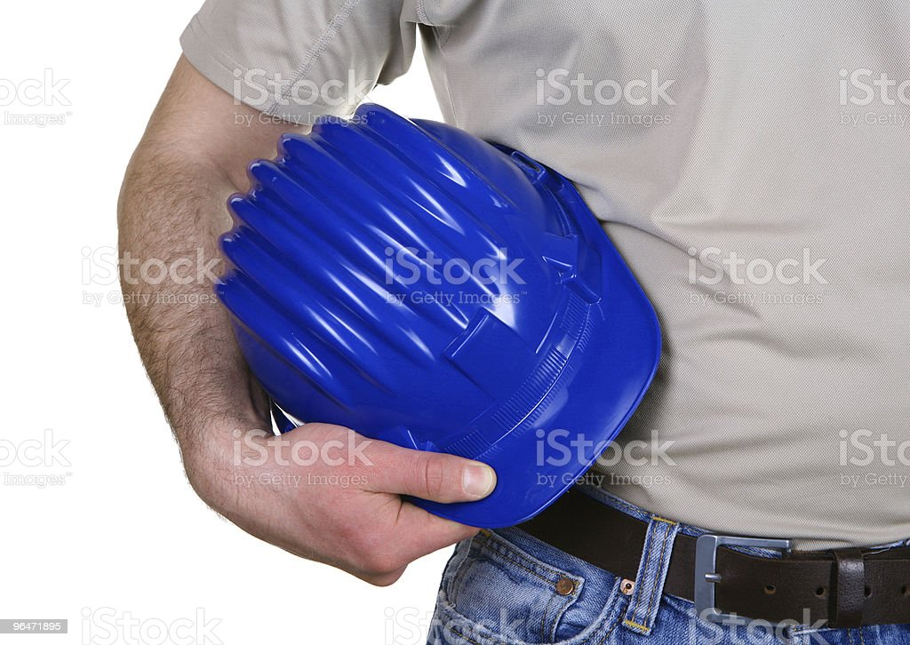 detail on worker with blue helmet royalty-free stock photo