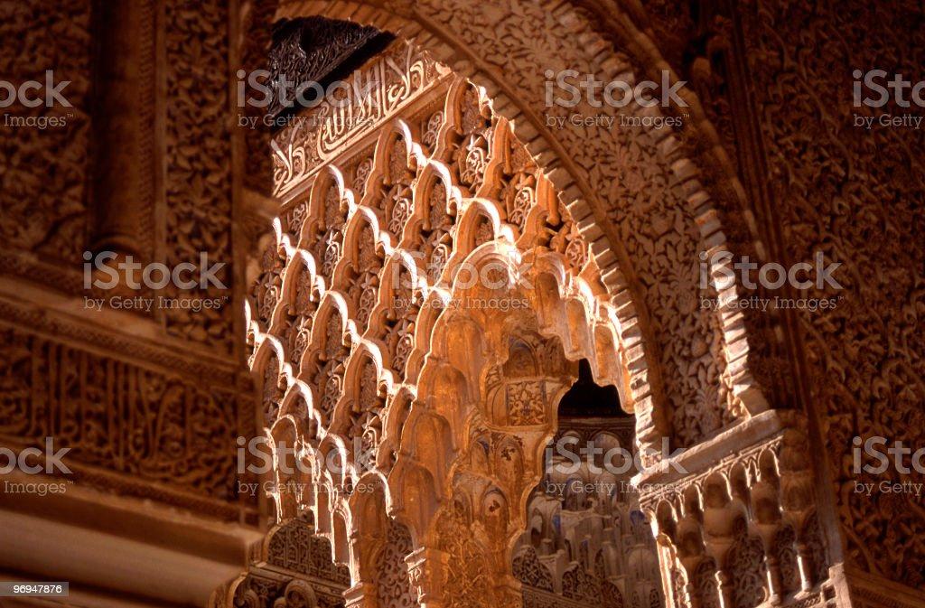 Detail, Patio de los Leones, Alhambra, Granada royalty-free stock photo