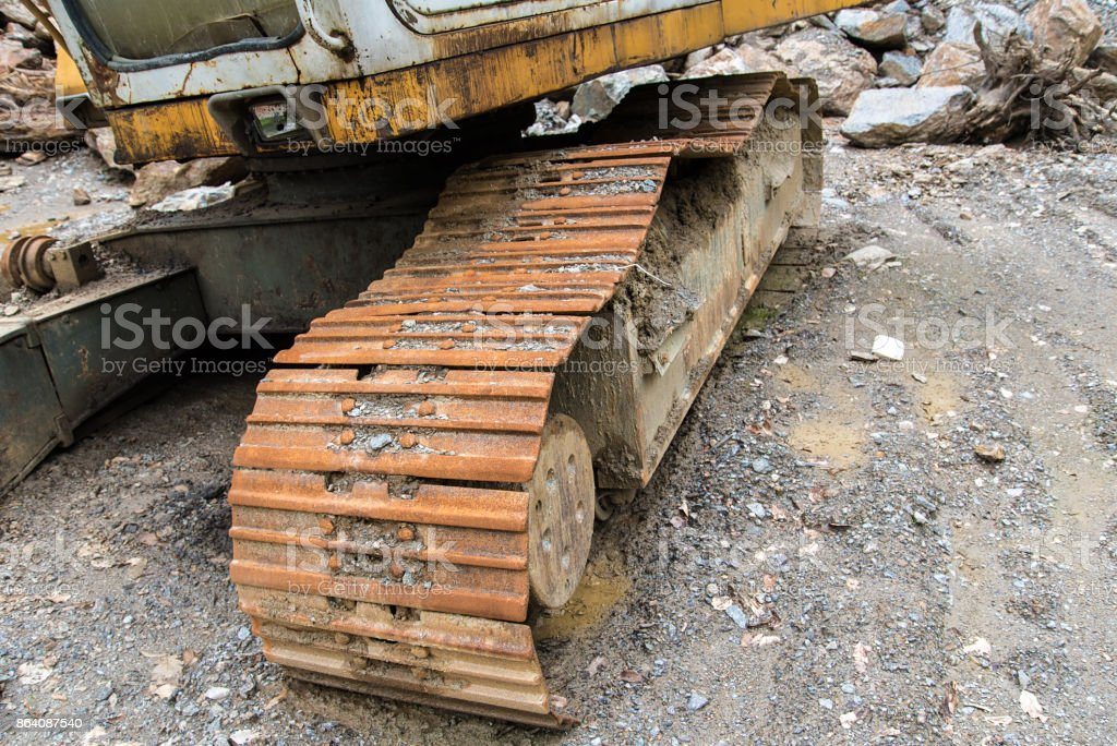 Detail photo of a heavy machinery in query royalty-free stock photo