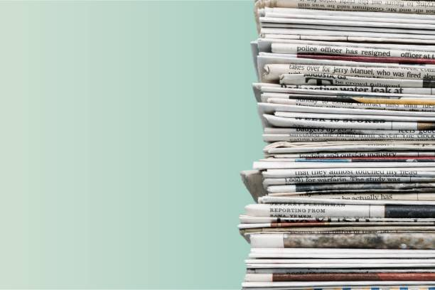 Detail. Pile of newspapers on background newspaper stock pictures, royalty-free photos & images