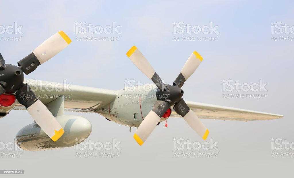 Detail propeller of Lockheed C 130 Hercules, The Royal Sky at Royal Thai Airforce Base Donmuang. stock photo
