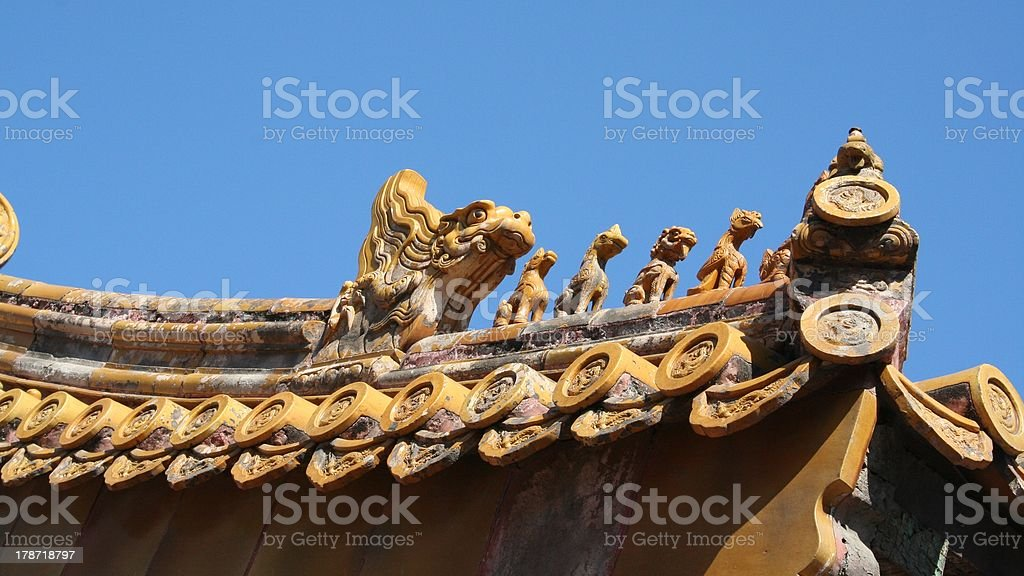 Detail Roof Imperial Garden, Forbidden City, Beijing, China royalty-free stock photo