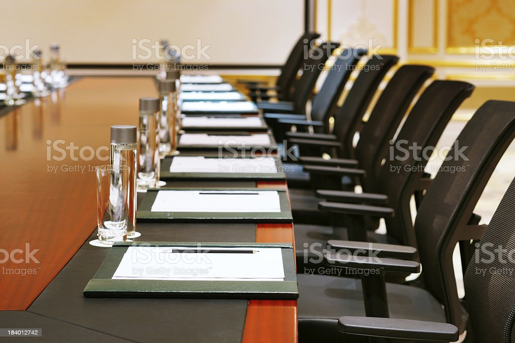 Detail shot of a meeting room stock photo