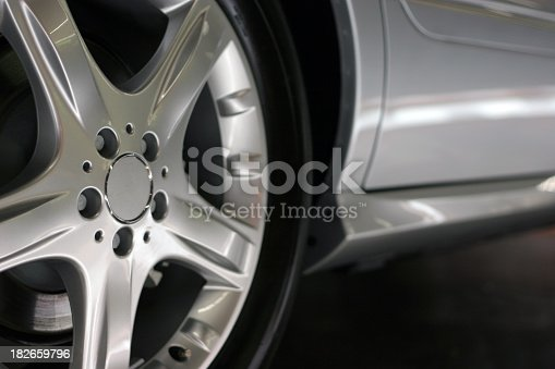 Detail view of a sports car´s alloy wheel.