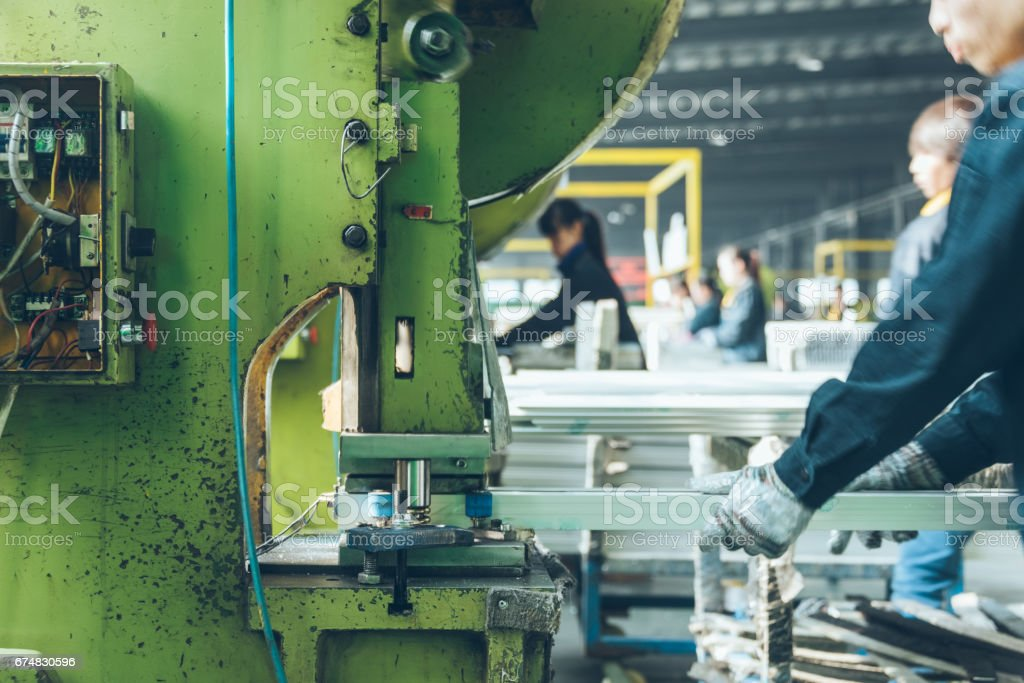 detail shot of extruded aluminum industry in a plant stock photo