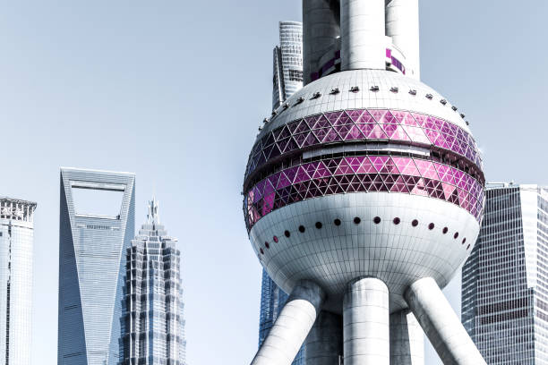 Detail shot of modern architecture facade,business concepts China - East Asia, Oriental Pearl Tower - Shanghai, Architecture, Close-up, Window pudong stock pictures, royalty-free photos & images