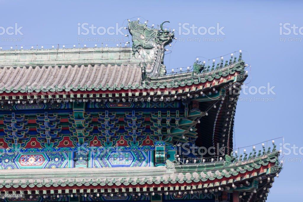 Detail shot of Zhengyangmen Gate, Beijing, Qianman, China stock photo