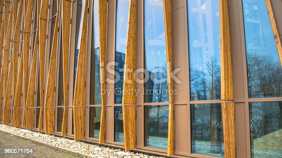Architectural detail of modern sustainable school building on Groningen Campus, Netherlands