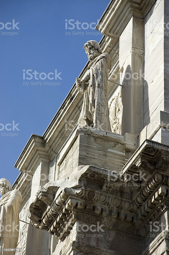 Detail the Arch of Constantine stock photo