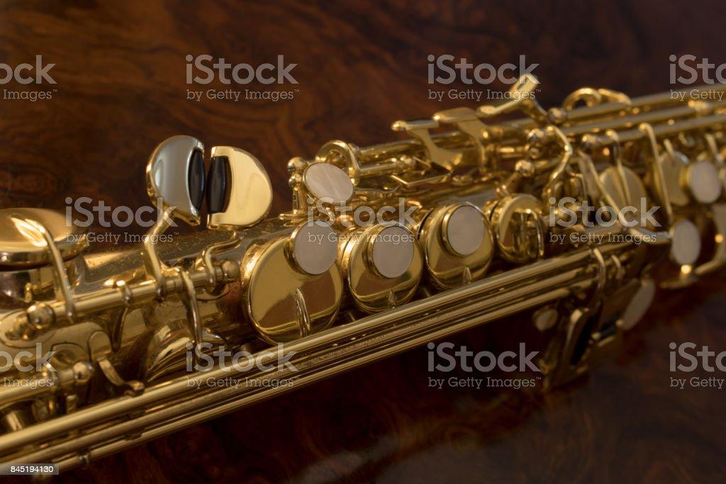Detail valves saxophone closeup stock photo
