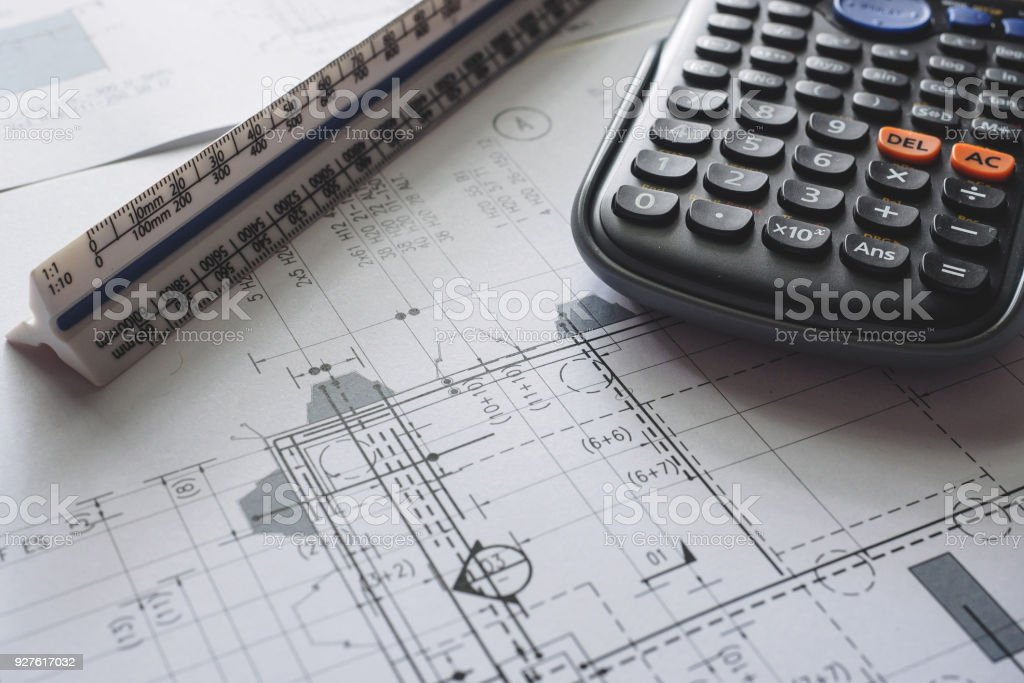 Detail view of architectural and structural construction drawings detail view of architectural and structural construction drawings with designer tools royalty free stock malvernweather Images