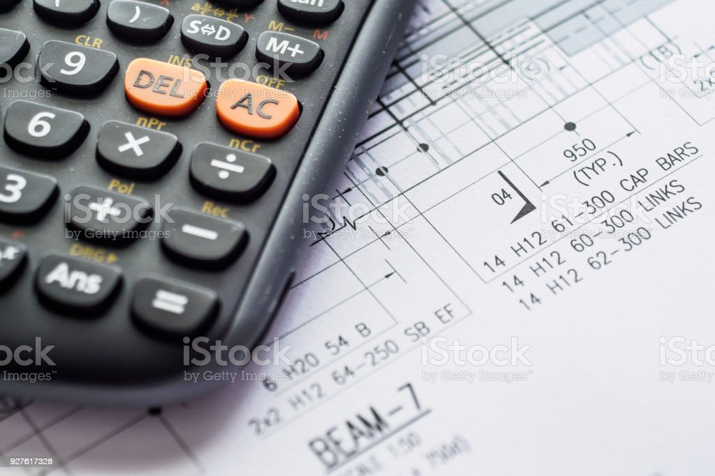 Detail view of architectural and structural construction drawings blueprint calculator construction industry instrument of measurement plan detail view malvernweather Image collections