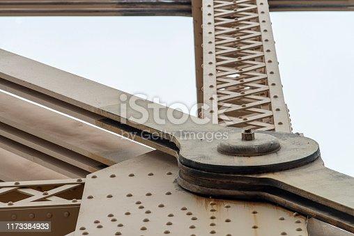 Detail view of the Ed Koch Queensboro Bridge steel structure at Midtown Manhattan, New York, USA.