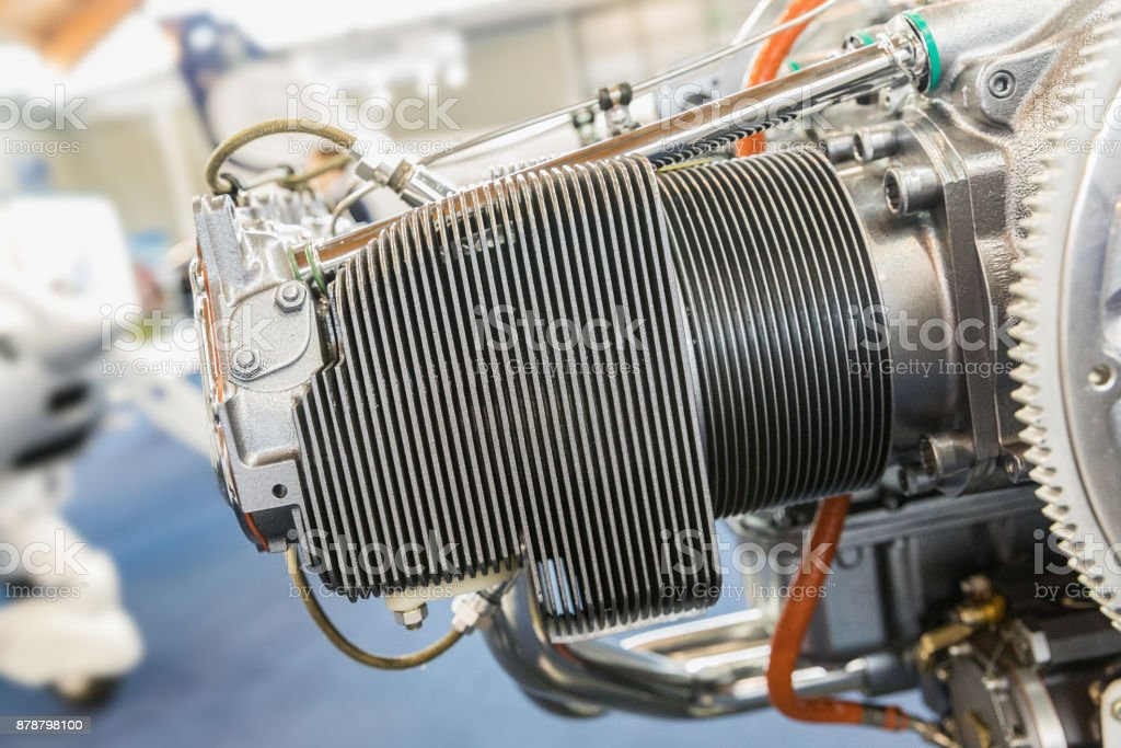 Detail view on the Piece of equipment of the aircraft engine closeup, a aircraft engine detail stock photo