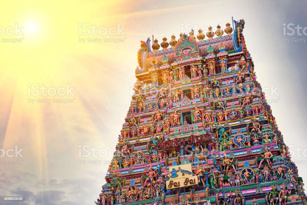 Detail Work In Gopuram, Hindu temple Kapaleeshwarar., Chennai, Tamil Nadu, India stock photo