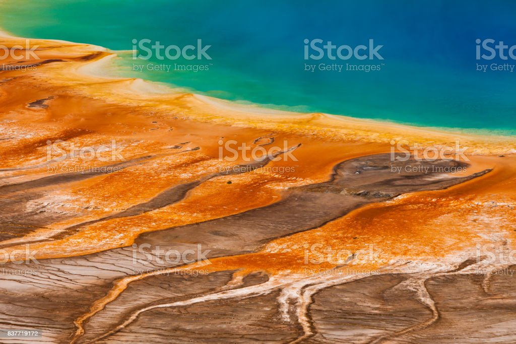 Detailed, abstract view of the Grand Prismatic Spring from above. Yellowstone National Park, USA stock photo
