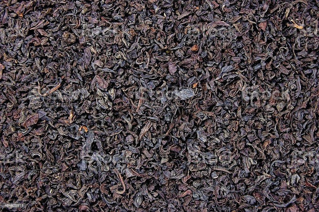 Detailed Black Loose Leaf Tea Texture Macro Closeup Horizontal Background stock photo