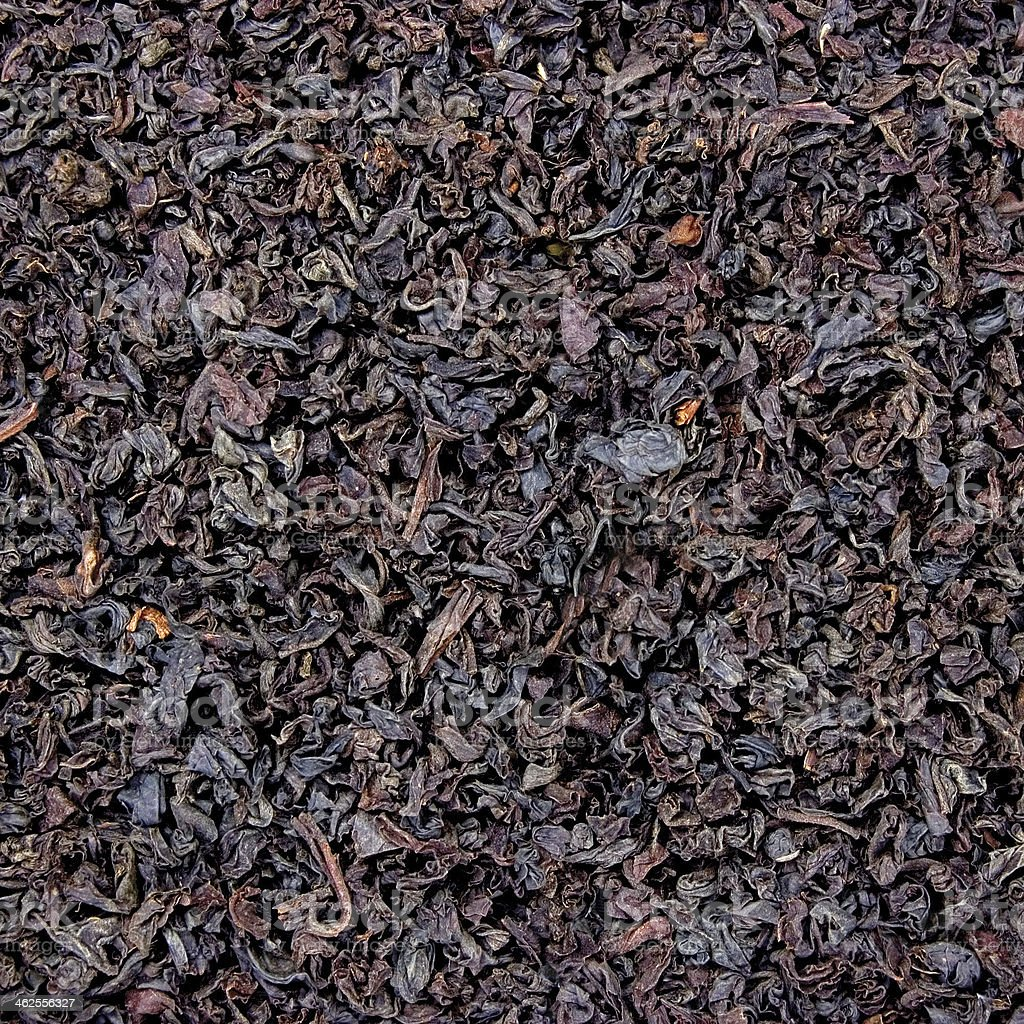 Detailed Black Tea Leaf Texture Closeup Background Pattern Copy Space stock photo