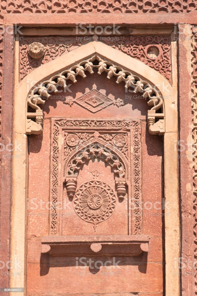 Detailed carving in Agra Fort, India stock photo