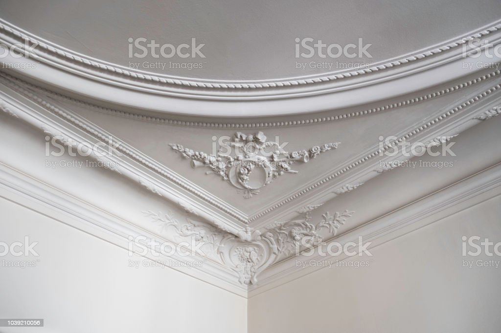 Detailed Ceiling in Luxurious Parisian Home stock photo