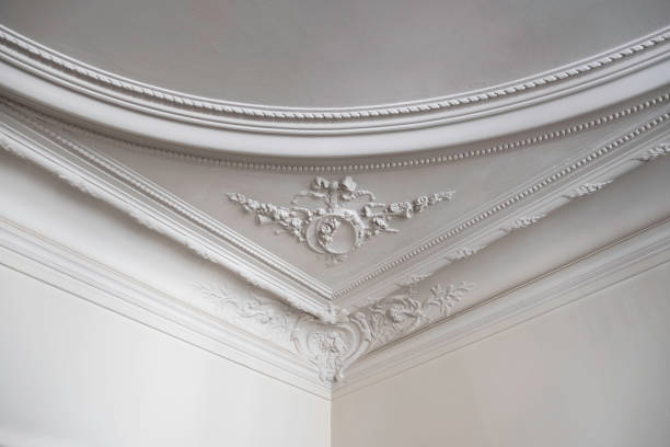 detailed ceiling in luxurious parisian home - intricacy stock pictures, royalty-free photos & images