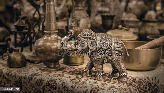 istock Detailed close-up elephant figurine made of metal 644404078
