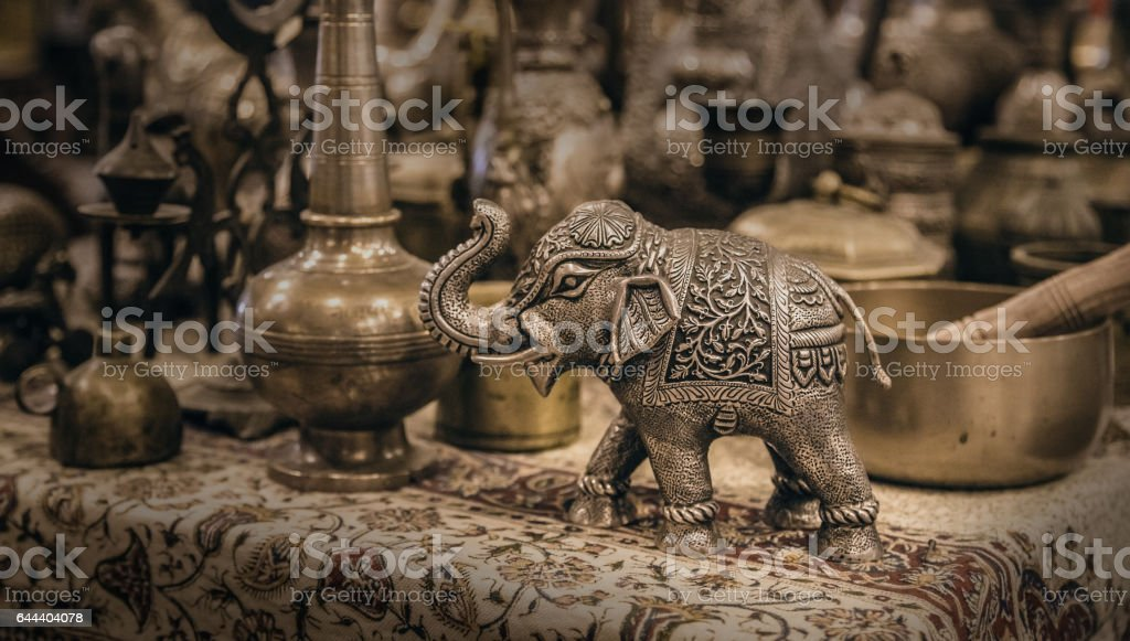 Detailed close-up elephant figurine made of metal stock photo