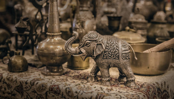 Detailed close-up elephant figurine made of metal 스톡 사진