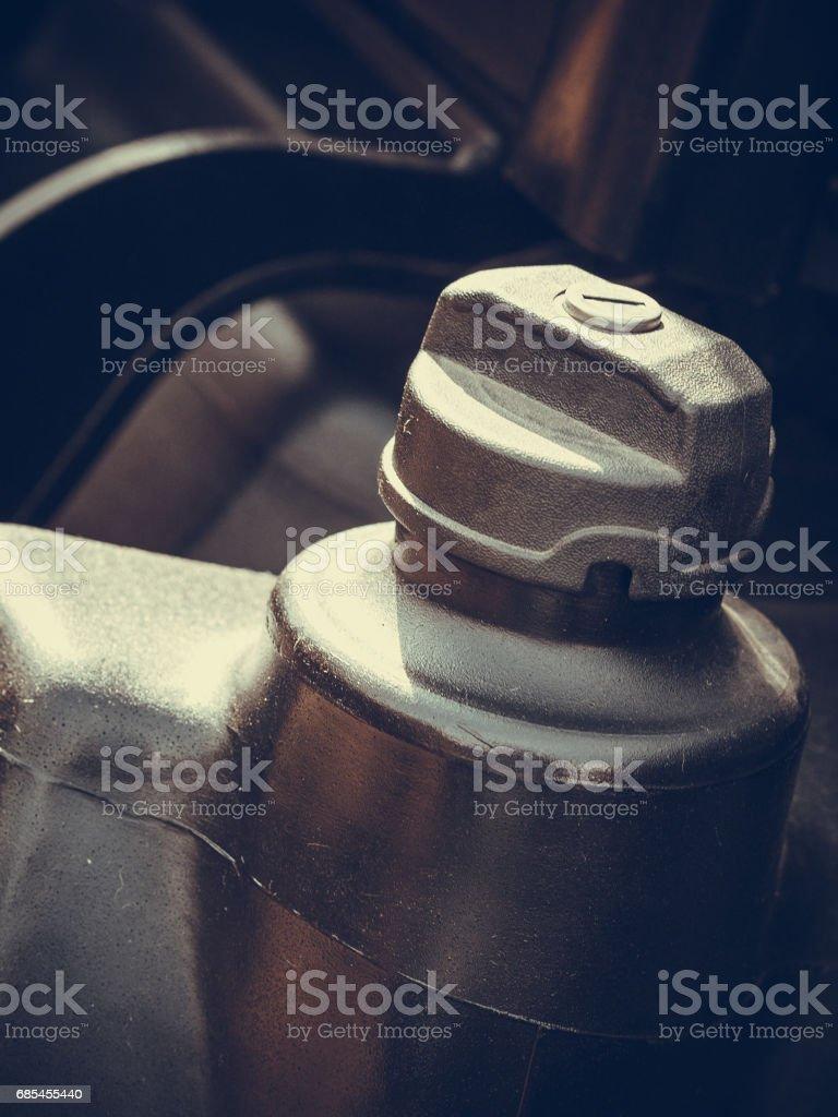 Detailed closeup of plastic fuel cap foto de stock royalty-free