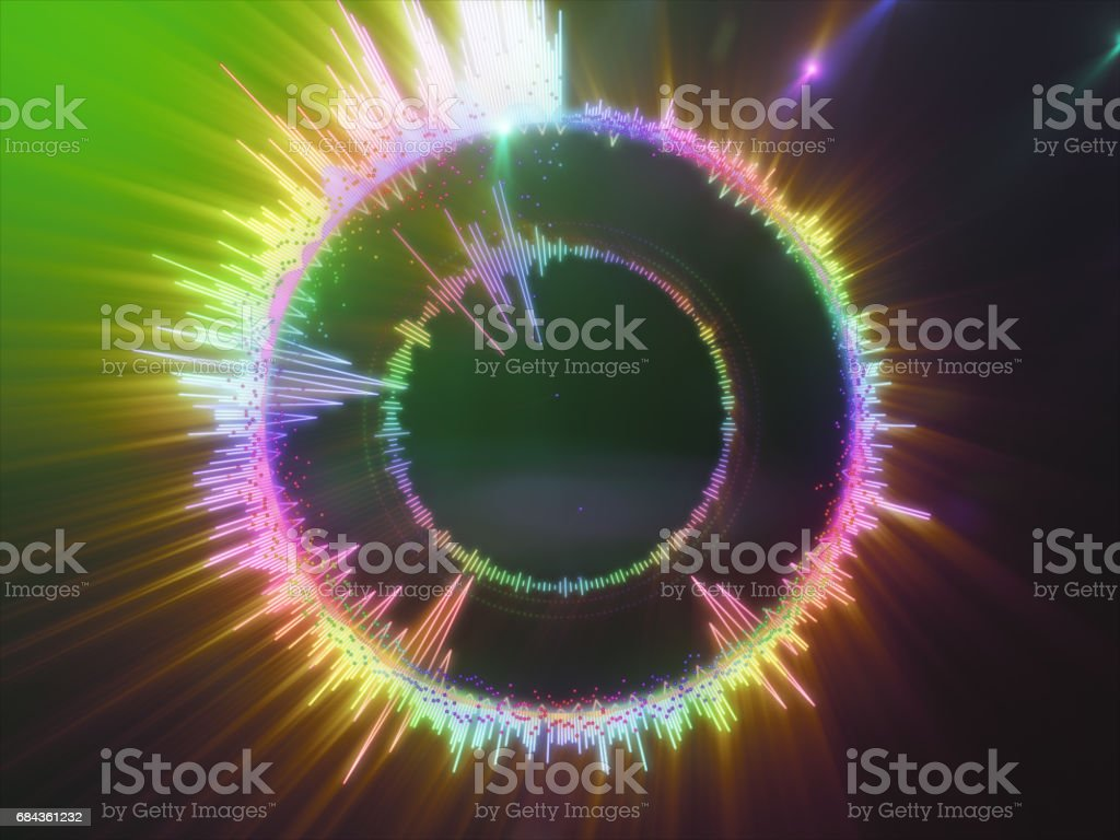 A detailed colorful multicolored equalizer in a circle. Audio spectrum stock photo