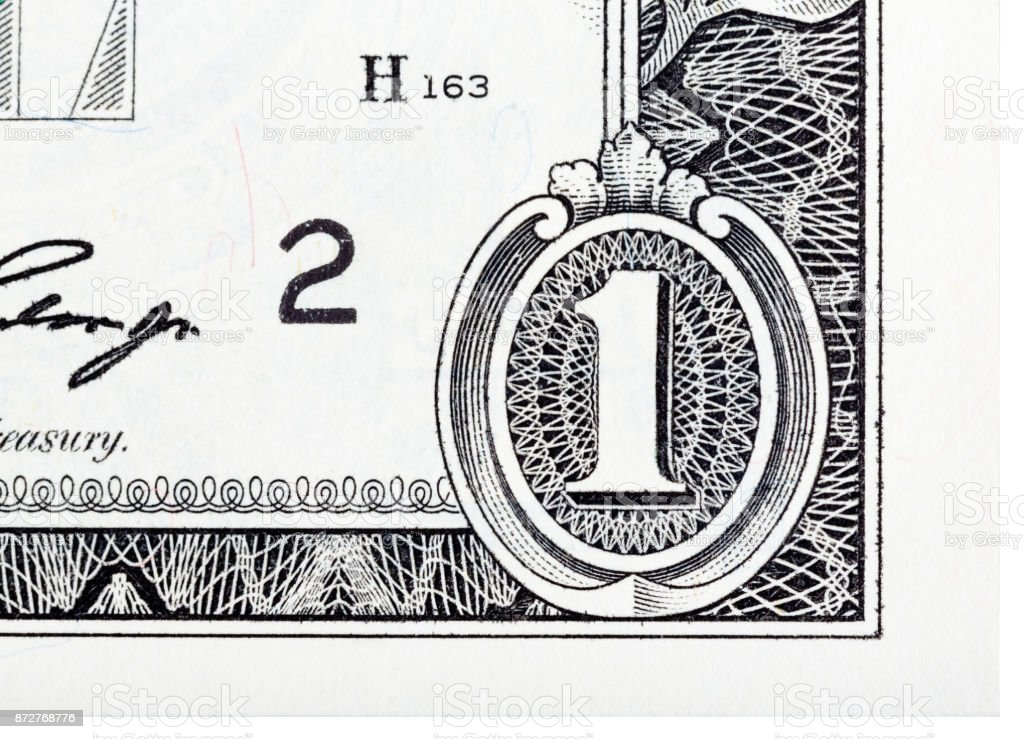 Detailed element based on a one dollar bill stock photo